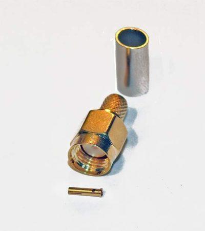 RP-SMA dugó RG-58 koax kábelhez, crimpelhető