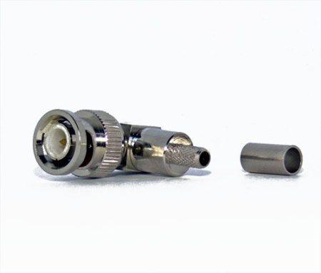 BNC dugó könyök (90 fokos), RG-58 koax kábelhez, crimpelhető